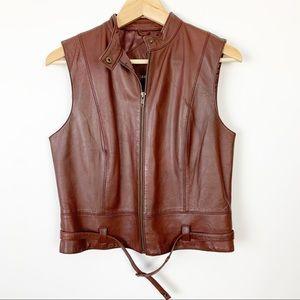 CAbi Brown Leather Vest Medium Moto Belted Zip 132